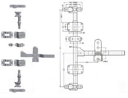 Штанговый замок прямая ручка D27 123211-2 оцинкованная сталь схема