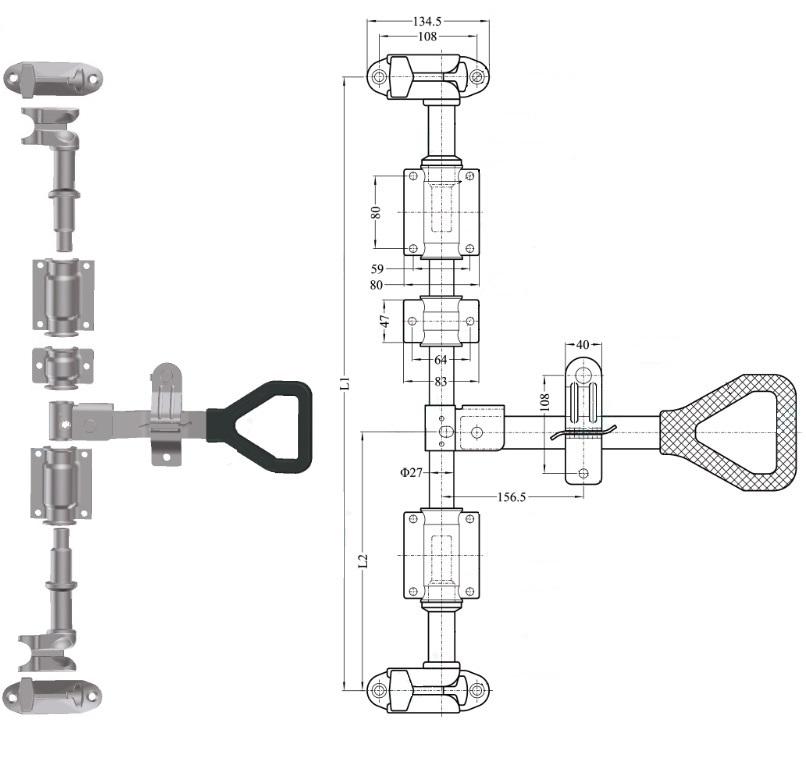 Штанговый замок Дельта ручка D27 оцинкованная сталь -211252 схема