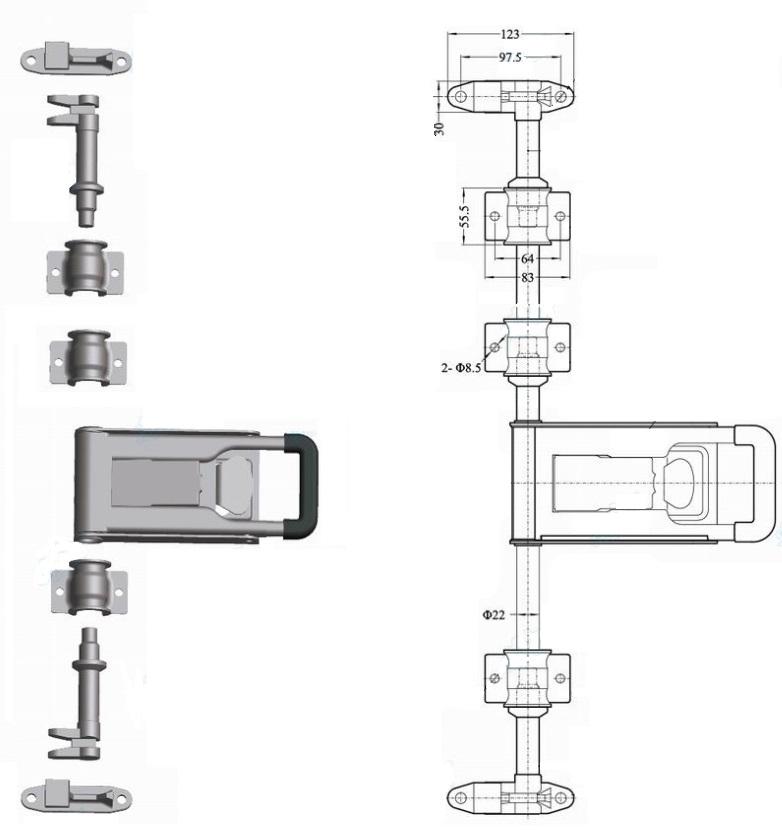 Штанговый замок Push ручка D22 схема