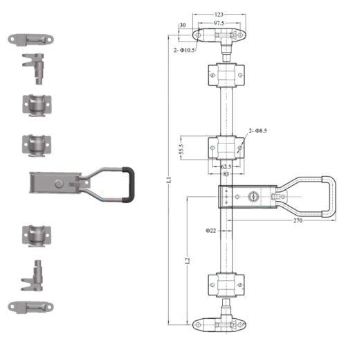 Штанговый замок Push малая ручка D22 421151 оцинкованная сталь схема