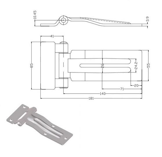 Петля 140 оцинкованная сталь 011-41-схема