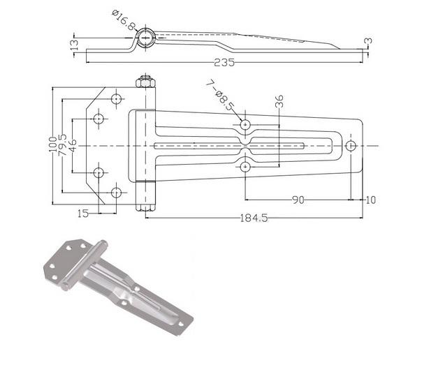 Петля 186 конус оцинкованная сталь 011-46-схема