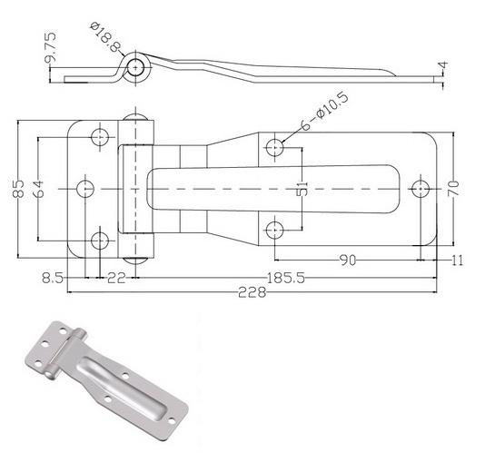 Петля 186 нержавеющая сталь 011-47s- схема