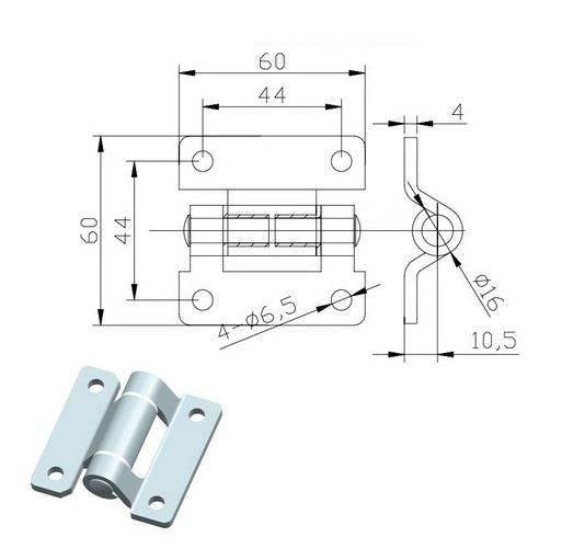 Петля 30х30 нержавеющая сталь 011-48s-схема