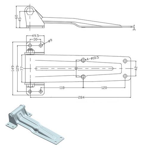 Петля задняя 284 оцинкованная сталь 011-26-схема