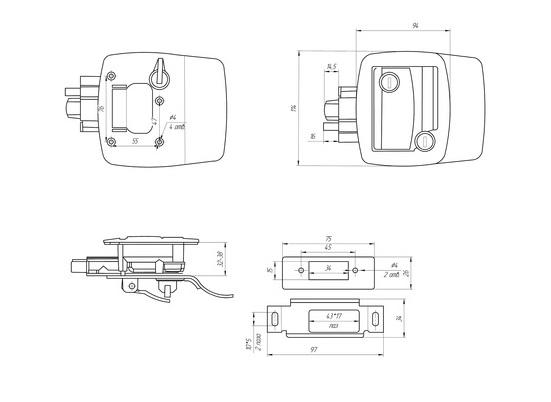 Замок для спецтехники R4 (chrome) -101-схема